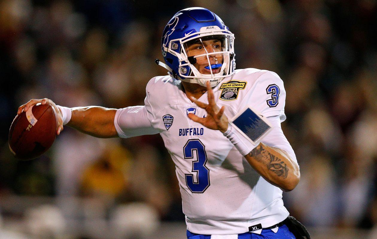pretty nice 0ee66 afaf3 University at Buffalo quarterback Tyree Jackson. (Photo by Jonathan  Bachman Getty Images)