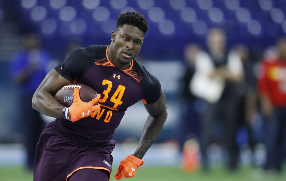 Wide receiver D.K. Metcalf of Ole Miss works out during Day 3 of the NFL scouting combine at Lucas Oil Stadium on March 2, 2019, in Indianapolis. (Getty Images)