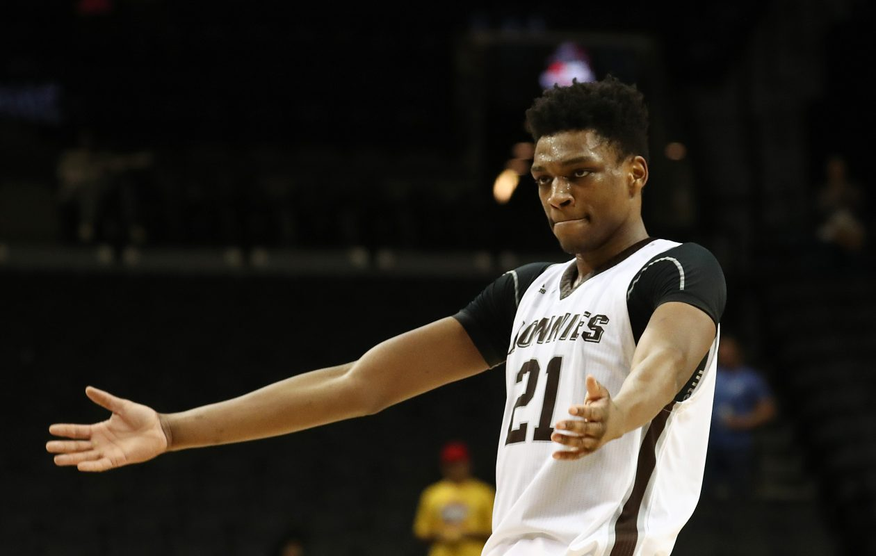 Osun Osunniyi of the St. Bonaventure Bonnies celebrates a 68-57 win against the George Mason Patriots during their Atlantic 10 basketball tournament quarterfinal game at Barclays Center on March 15, 2019 in New York City. (Photo by Al Bello/Getty Images)