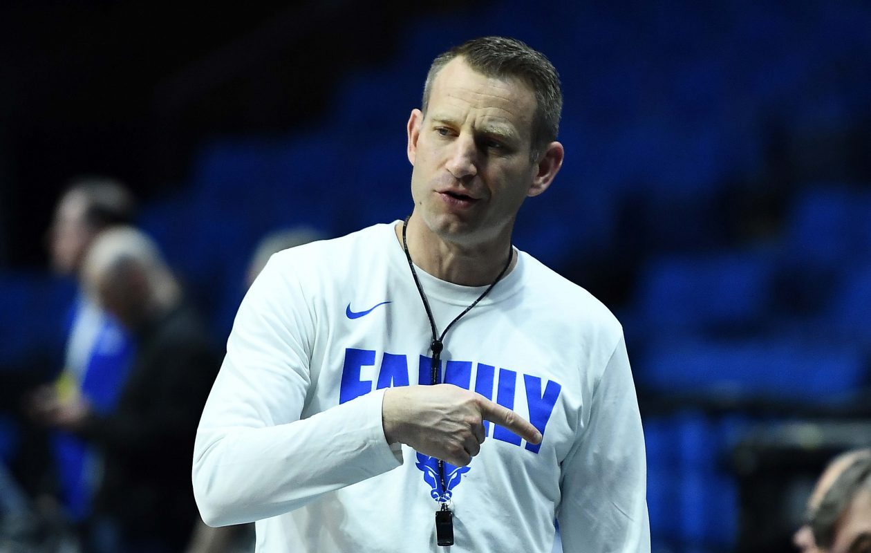 UB coach Nate Oats watches practice in Tulsa. (Getty Images)