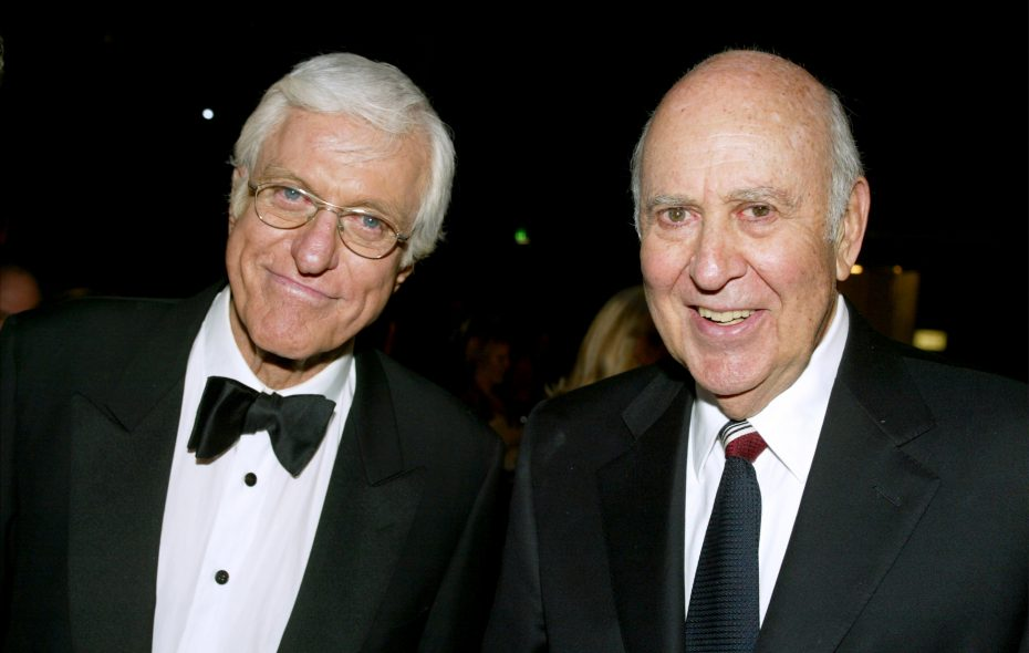"""The National Comedy Center in Jamestown will preserve Carl Reiner's archives from """"The Dick Van Dyke Show."""" Van Dyke, left, and Reiner are pictured in this file photo. (Getty Images)"""