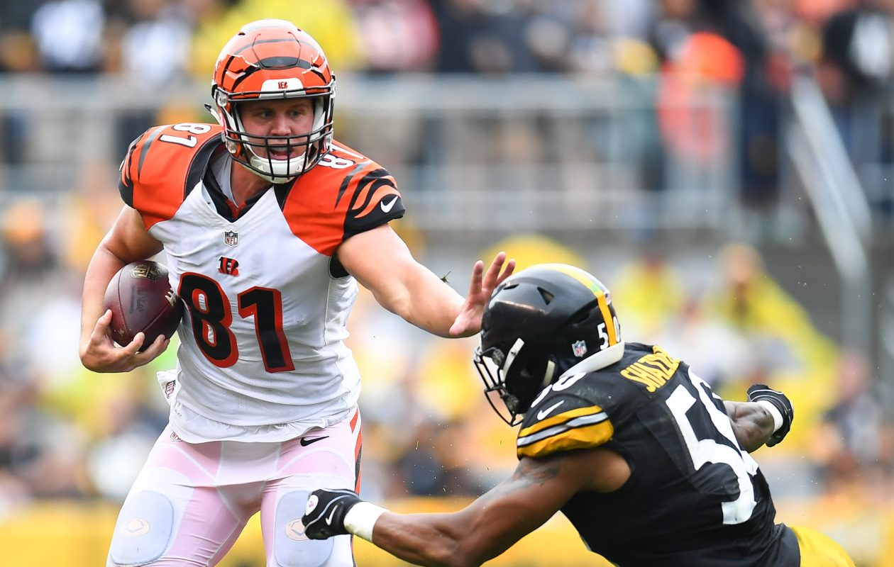 Former Bengals tight end Tyler Kroft is set to join the Bills, according to the player's agent. (Getty Images)