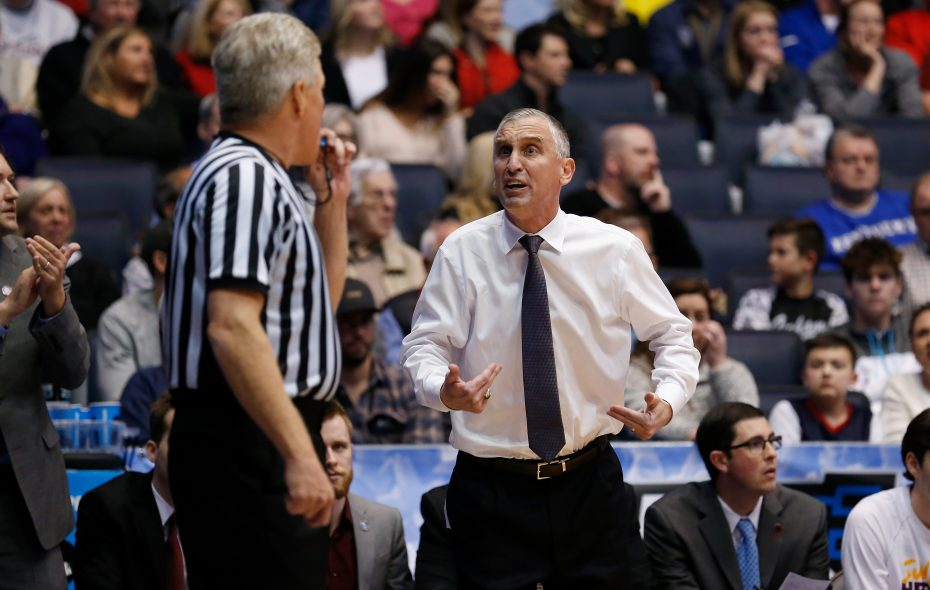 Arizona State coach Bobby Hurley pleads his case to an official during the win against St. John's. (Kirk Irwin/Getty Images)