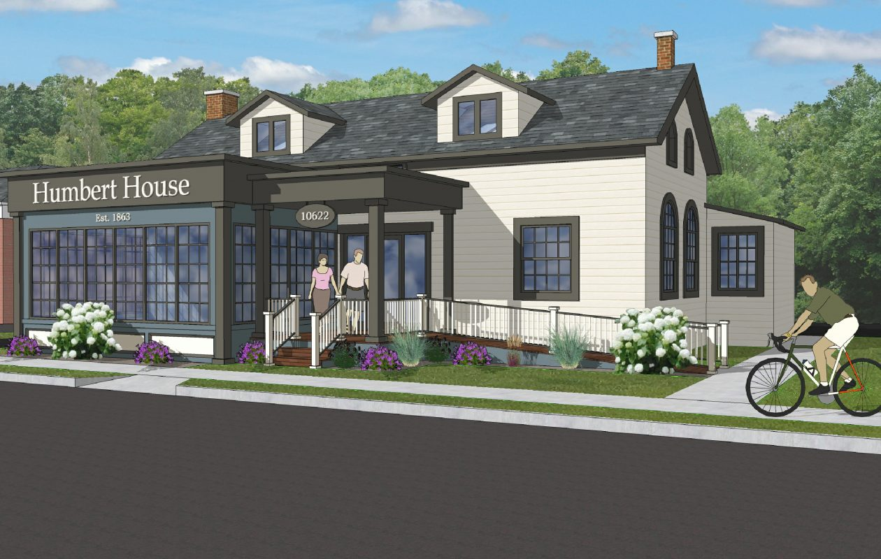 This rendering prepared by Sutton Architecture shows the renovations planned for 10622 Main St. in Clarence that include a bar and tapas-style café by Salvatore's Hospitality. (Town of Clarence)