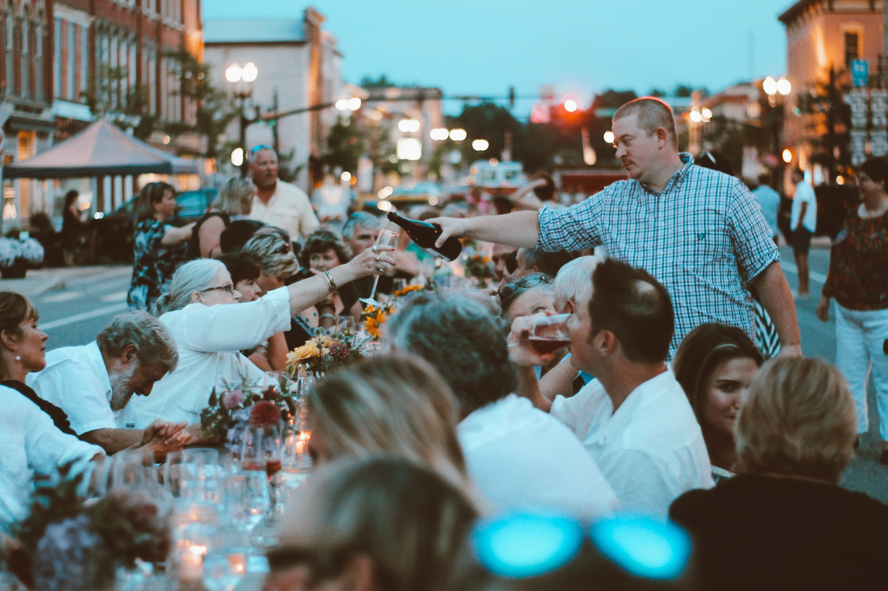 Medina's seen a culinary resurgence mirroring Buffalo's in scale over the past 15 years. Pictured here is one of their popular annual events, a farm-to-table dinner on Main Street. (Francesca Bond/Buffalo News)