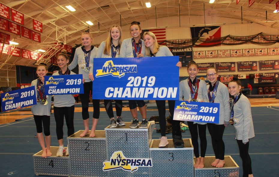 The Section VI gymnastics team broke a 16-year-old state record in winning the NYSPHAA championship on Saturday, March 2, 2019, at Cold Harbor Springs High School on Long Island. (Contributed photo)