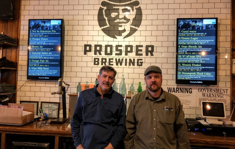 Prosper Brewing owners Kevin Whipple, left, and Tim Berg recently held a soft opening. (Ben Tsujimoto/Buffalo News)