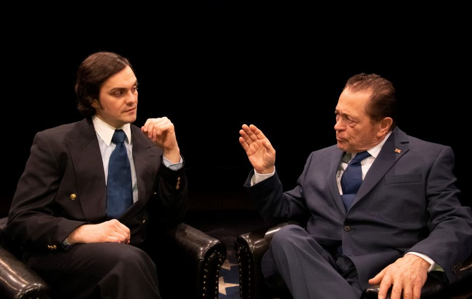 "Adriano Gatto as David Frost and Jack Hunter as Richard M. Nixon spar off well in ""Frost/Nixon"" at the Irish Classical Theatre. (Photo courtesy by Gene Witkowski.0"