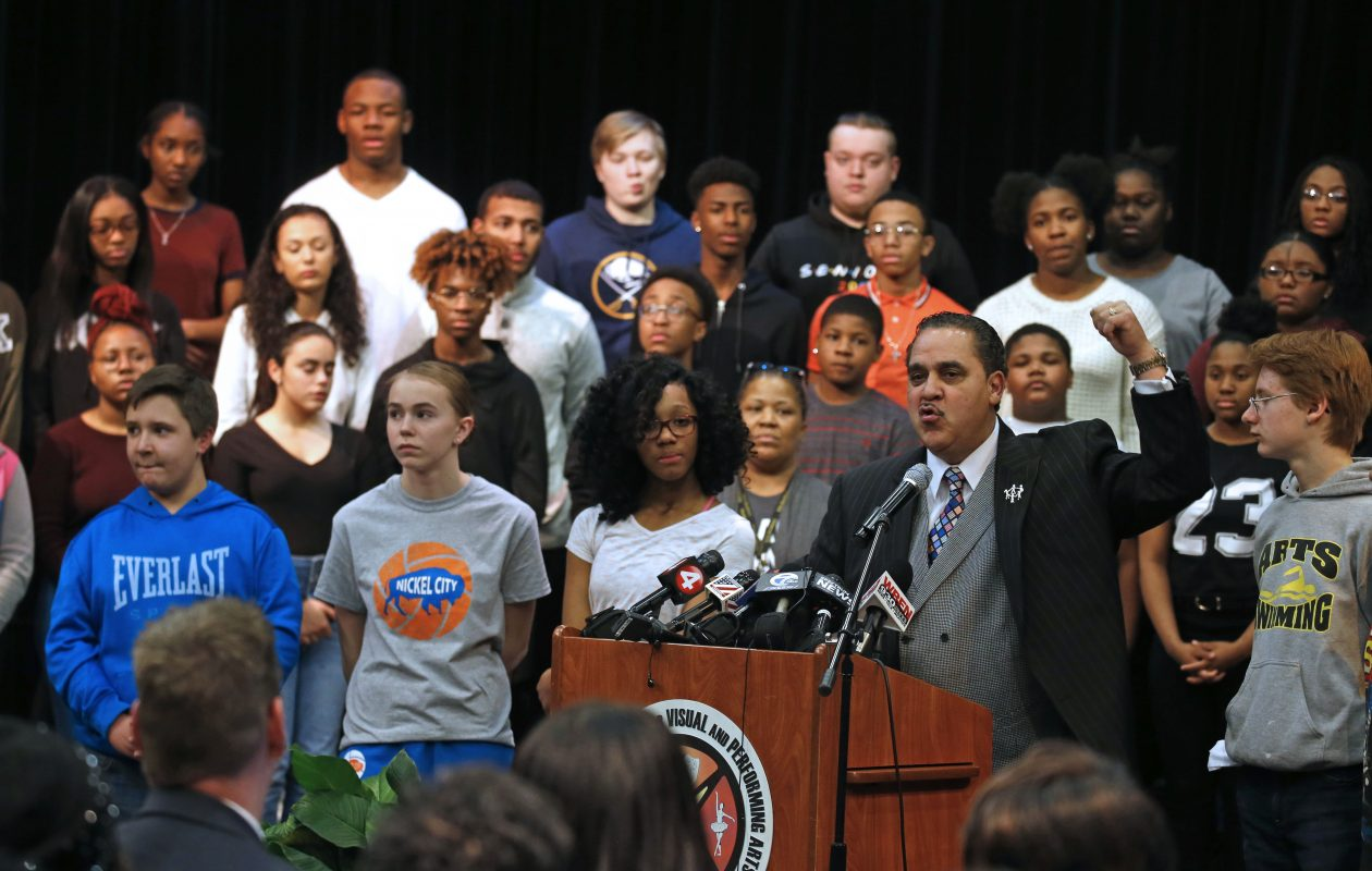 While some issues facing Buffalo Public Schools are the same as 2004, 38 of the district's 50 schools are now in 'good standing.'  Buffalo Schools Superintendent Kriner Cash celebrated that progress with students in January.  (Robert Kirkham/Buffalo News)