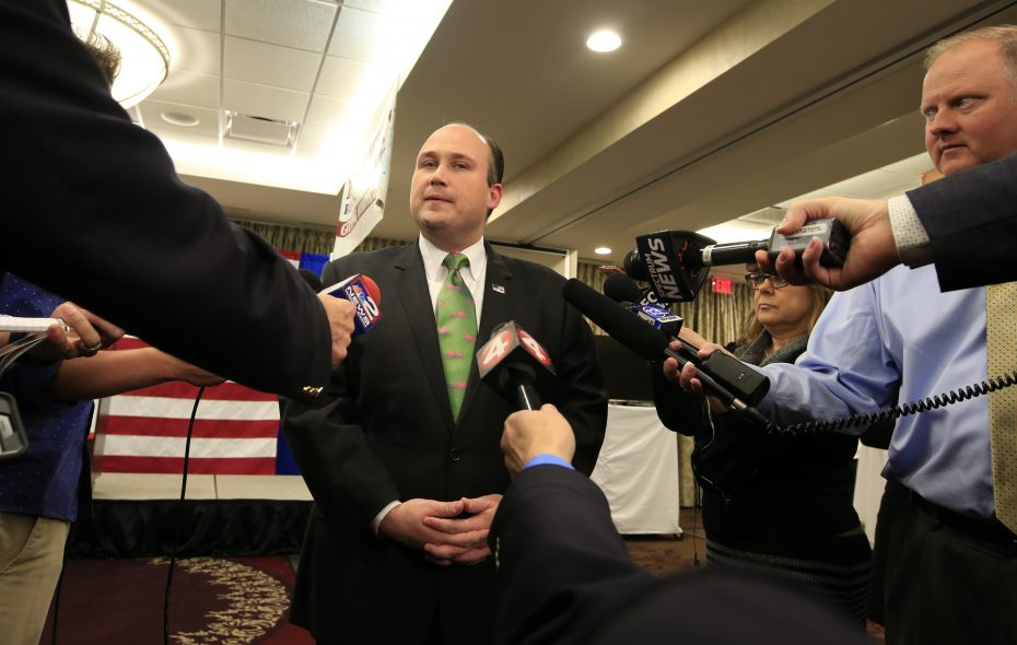 Erie County GOP Chairman Nicholas A. Langworthy, shown here on election night, contrasts the party's local success with its failures statewide in making his case to become state party chairman. (Harry Scull Jr./News file photo)
