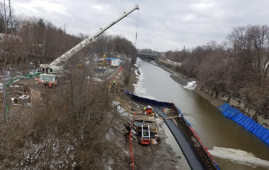 A proposed marina would be built on this stretch of the Erie Canal off West Genesee Street in Lockport, seen here on March 11. (Thomas J. Prohaska/Buffalo News)
