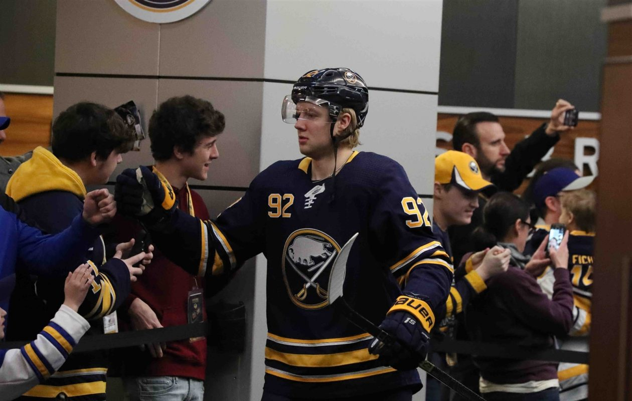 Alexander Nylander prepares to hit the KeyBank Center ice prior to Sunday's game against Columbus (James P. McCoy/Buffalo News).