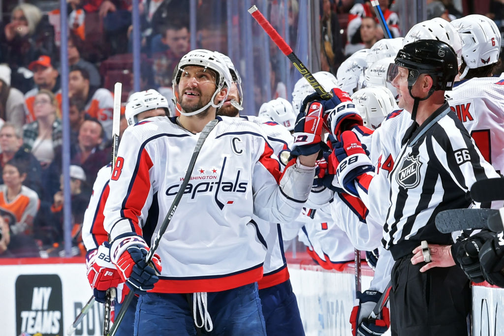 Alex Ovechkin has had lots of reasons to look up at replays on the jumbotron as he closes in on another 50-goal season (Getty Images).