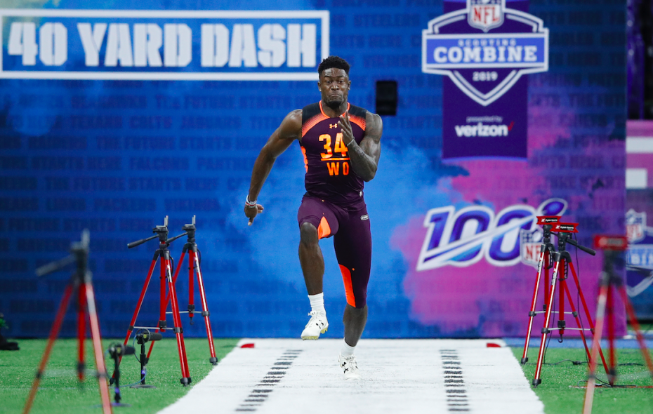 Wide receiver D.K. Metcalf of Ole Miss runs the 40-yard dash during day three of the NFL Combine at Lucas Oil Stadium on March 2, 2019 in Indianapolis, Indiana. (Photo by Joe Robbins/Getty Images)