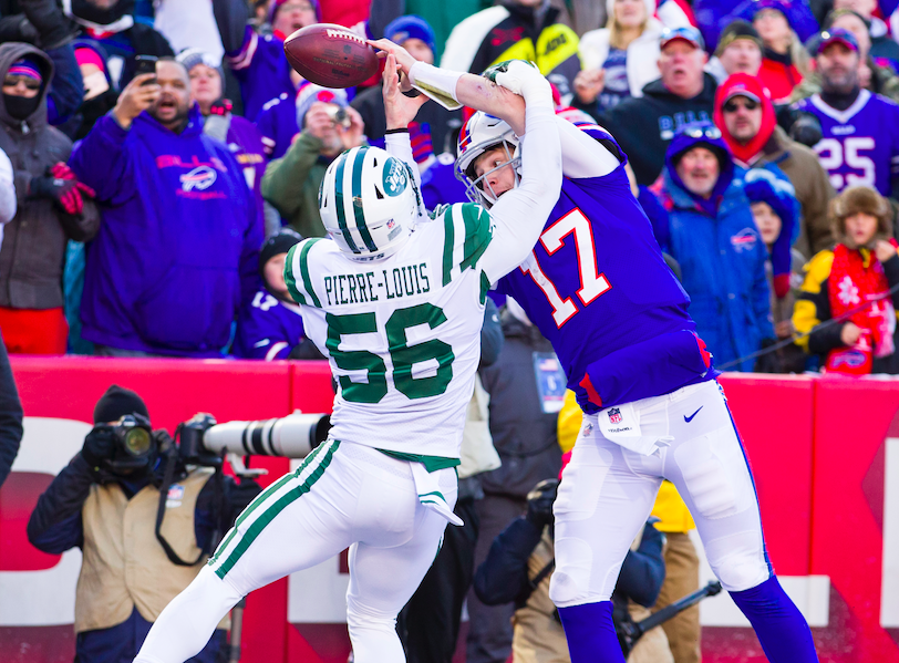 Kevin Pierre-Louis #56 of the New York Jets breaks up a pass intended for Josh Allen #17 of the Buffalo Bills in the end zone thrown by Zay Jones #11 during the second quarter at New Era Field on December 9, 2018 in Orchard Park, New York. (Photo by Brett Carlsen/Getty Images)