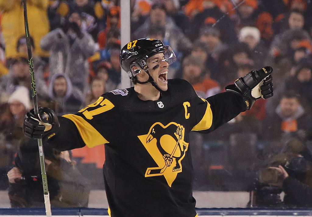 Sidney Crosby, shown celebrating a goal in last week's Stadium Series game in Philadelphia, has 57 points in 37 career games against the Sabres. (Getty Images)