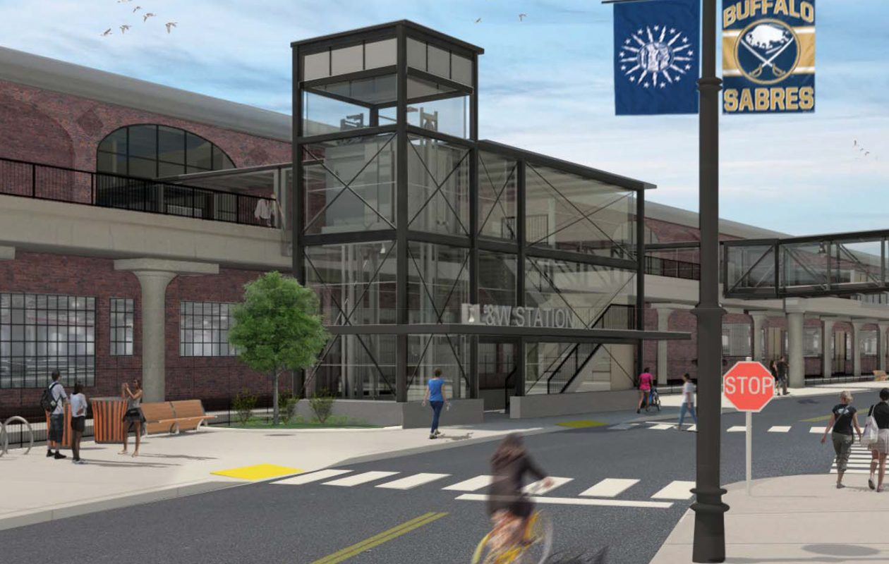 The NFTA still plans to build a stair tower on the Illinois Street side of a redeveloped DL&W Terminal, as shown in this rendering, but a second tower that would have included an overhead walkway to KeyBank Center has been dropped.