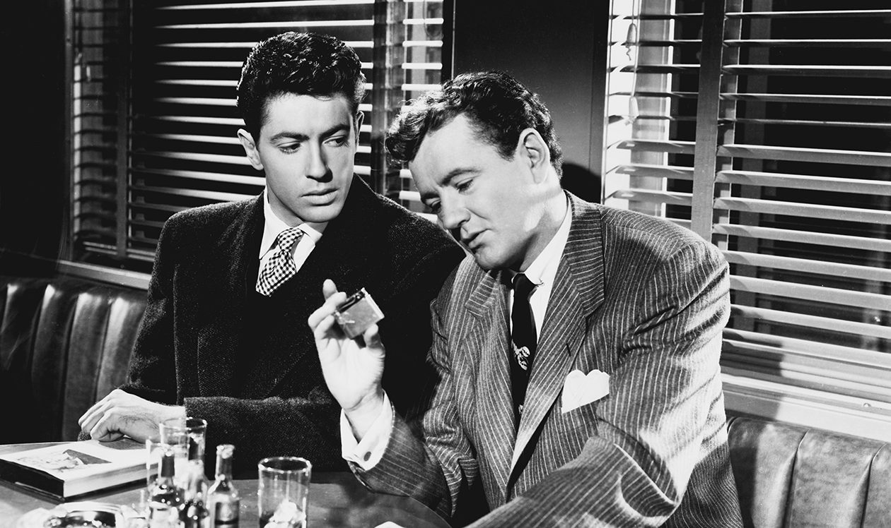 Farley Granger, left, has a life-altering meeting with Robert Walker in Alfred Hitchcock's 'Strangers on a Train.'