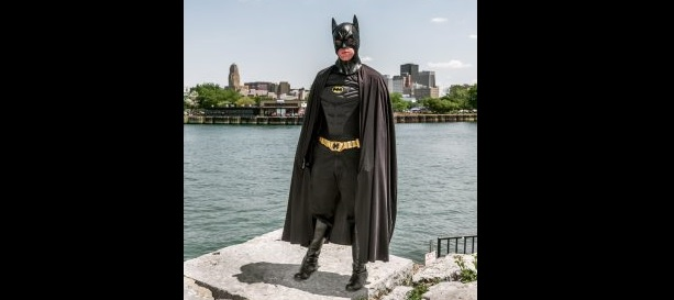 Attorney William Lorenz in his Batman costume. Lorenz has written a book about appearing as Batman at events in the Buffalo area. (Provided photo)