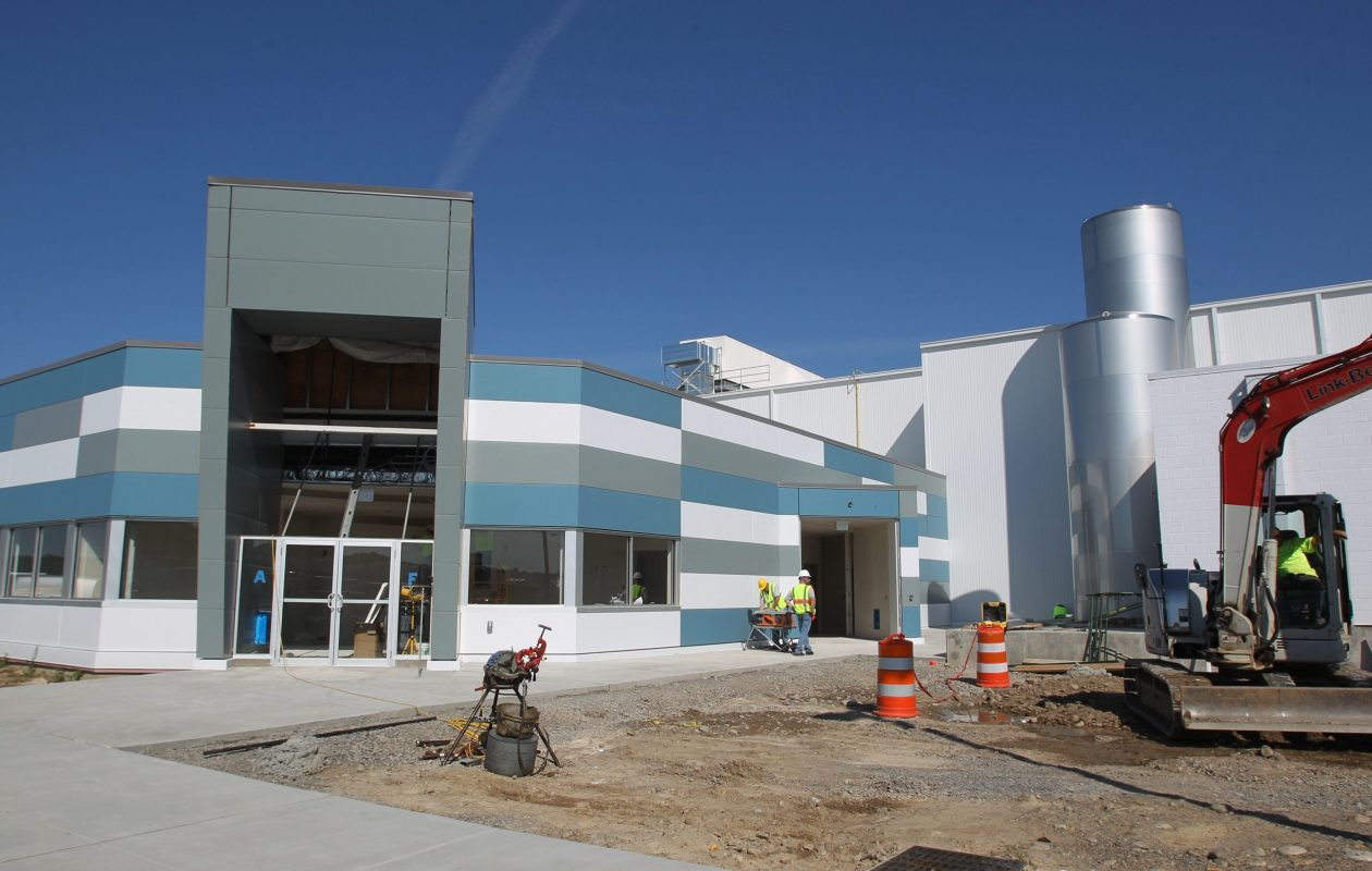 The ex-Alpina Foods plant, shown under construction in 2012. (News file photo)