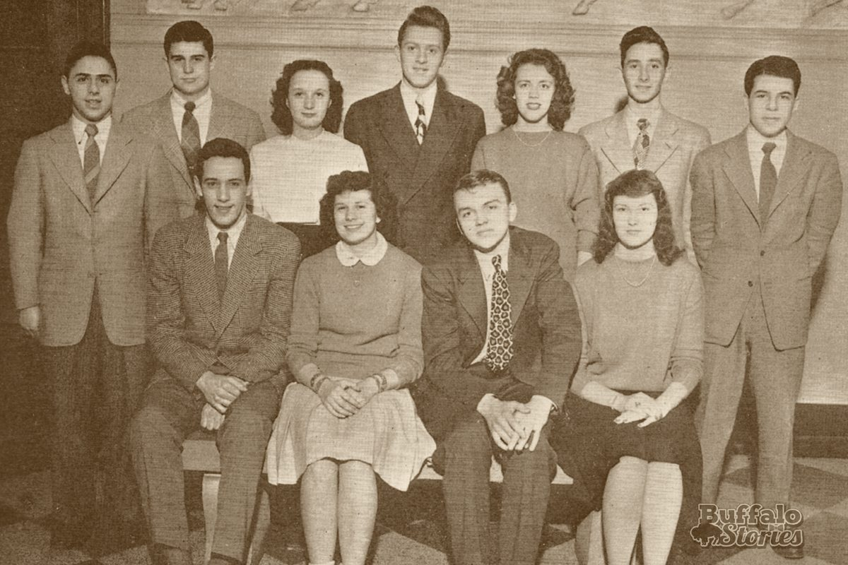 Bennett class officers in 1946, featuring John Otto (leopard print tie), and Sorrell Booke (far right, standing).