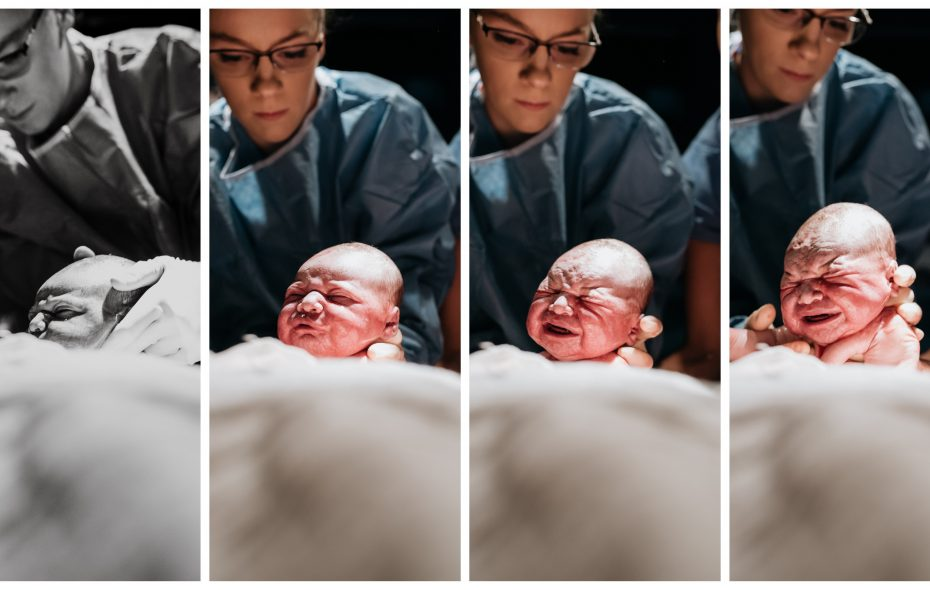 Welcome to the world: Even as she was giving birth, Megan Ann Mattiuzzo, a professional photographer, captured the moments when her newborn son, Easton Louis Mattiuzzo, left her womb and made his grand entrance at Sisters Hospital. To the left, assisting with the birth, is Jennifer Rath, a medical student at the University at Buffalo; Dr. Maria Lagopoulos, who handled the delivery, is to the right, barely visible. (Images courtesy of Megan Ann Photography)
