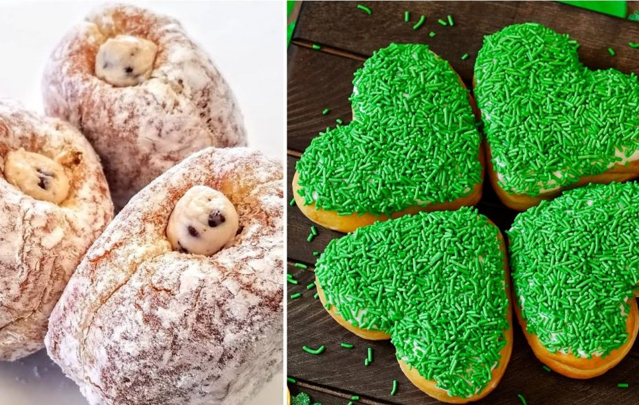 Paula's cannoli-filled doughnut, left, and Tim Hortons' four-pack of heart-shaped doughnuts are two reasons to be excited. (via Paula's, Tim Hortons)