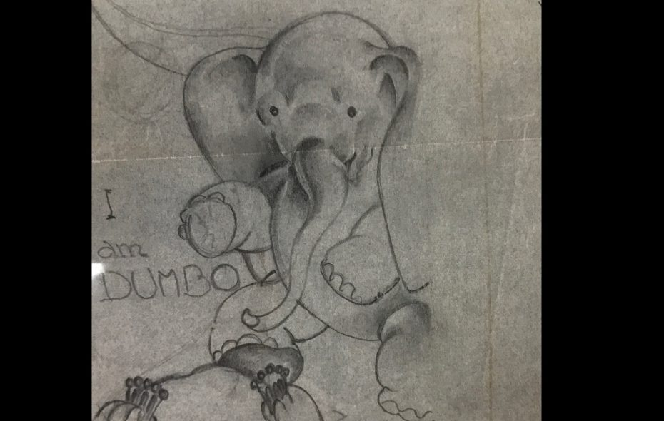 One of Helen Durney's original images of Dumbo, used with permission from the Helen R. Durney Papers, Special Collections Research Center, Syracuse University Libraries. (Image courtesy of David Haas, David Haas, of @SyracuseHistory on Instagram)