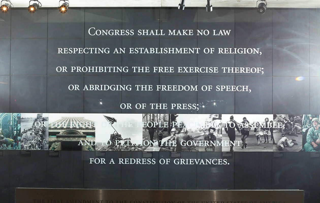 The First Amendment greets visitors in the lobby of The Buffalo News. Like other news media, the News seeks to hold public officials accountable. (Derek Gee/News file photo.)