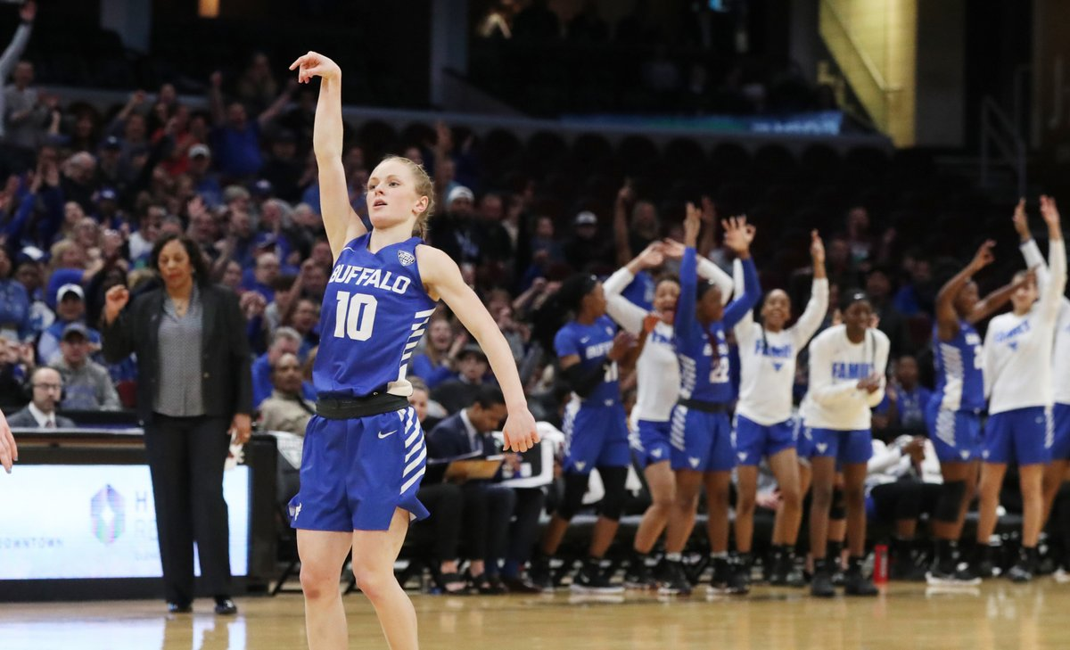 Buffalo Bulls guard Hanna Hall hits a 3-pointer in the second quarter of the MAC Championship game Saturday at Quicken Loans Arena in Cleveland. (James P. McCoy/The Buffalo News)