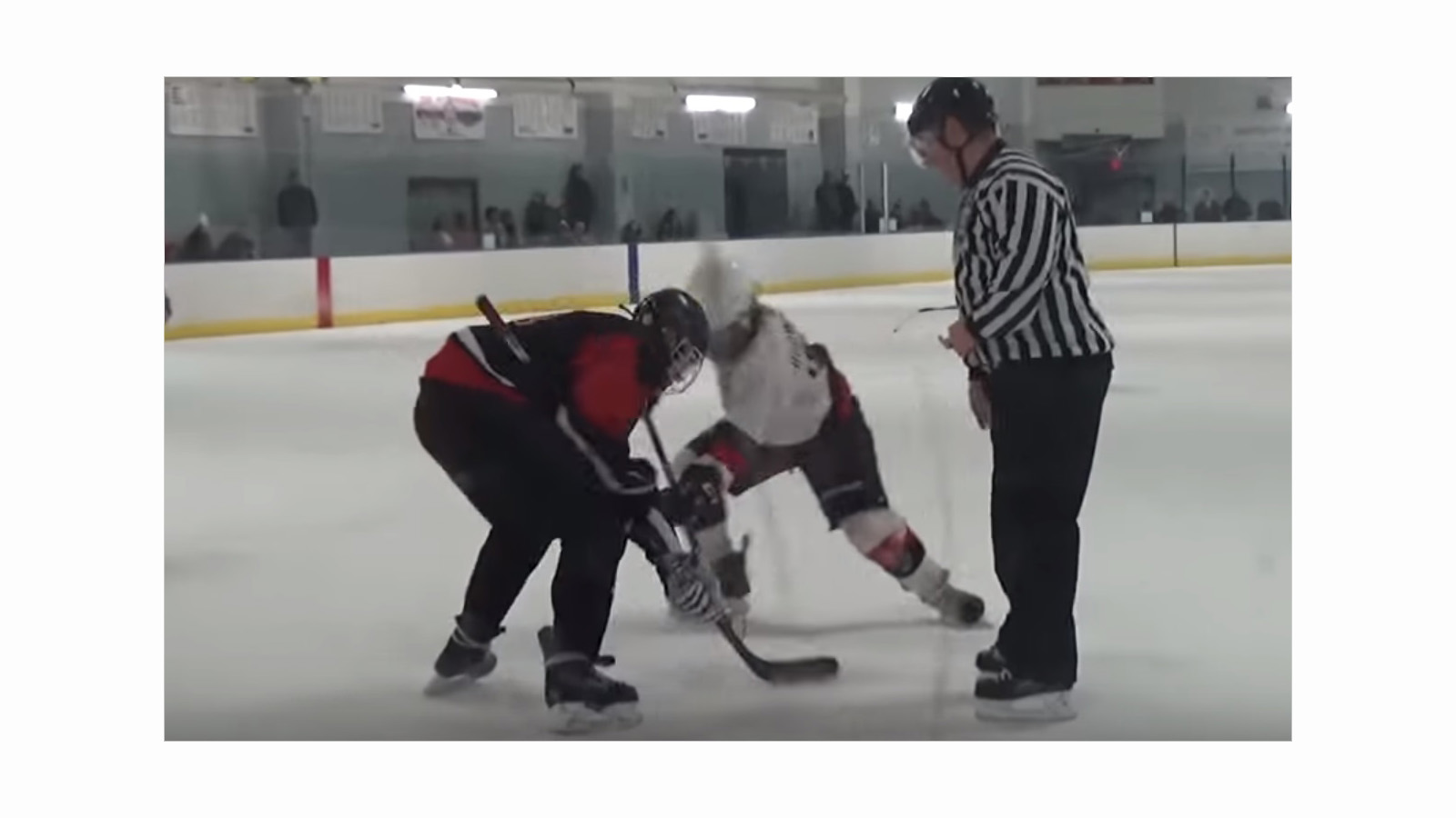 A still image from a YouTube video of an 18-and-under hockey game from Jan. 20 at the Northtown Center between the Cheektowaga Warriors and Amherst Youth Hockey.