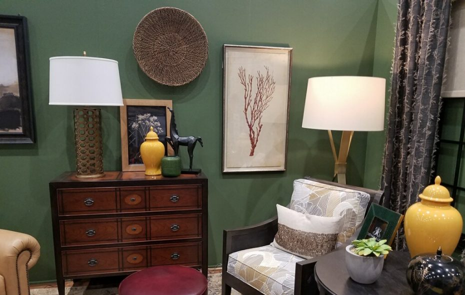 The green-painted room at the Buffalo  Home Show is one of the Designer Rooms decorated by Ethan Allen of Western New York.  The color  is Oakmoss SW 6180 by Sherwin-Williams. (Submitted photo).