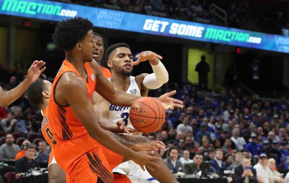 UB guard Jayvon Graves (3) reaches for the ball against Bowling Green guard Justin Turner (10) in the MAC Tournament championship game March 16 in Cleveland. (James P. McCoy/The Buffalo News)
