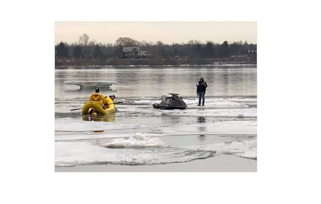 The operator of a personal watercraft, one of three people attempting to enter the United States illegally on Thursday, was rescued from the Niagara River on Wednesday. (Photo courtesy of Grand Island Fire Company)