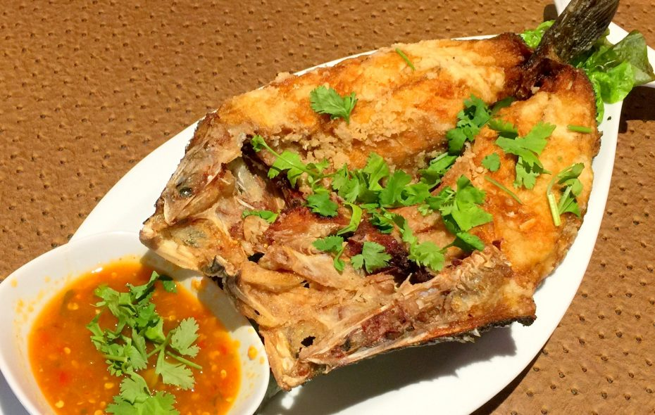 At Lin Restaurant, a whole deep-fried fish, properly ordered, comes with a pungent chile lime sauce. (Andrew Galarneau/Buffalo News)