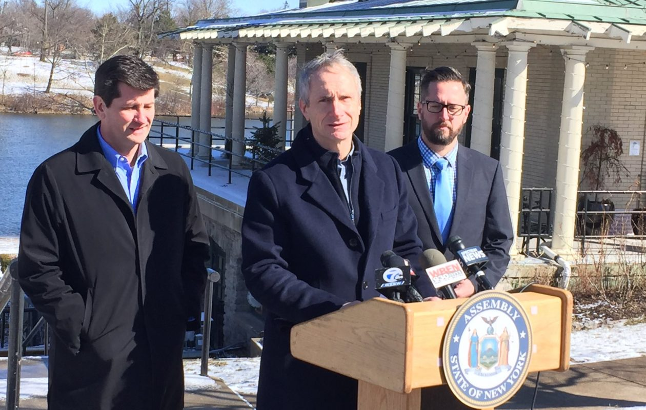 Assemblyman Sean Ryan, joined by Erie County Executive Mark Poloncarz, announced their support for a ban on plastic bags as part of the 2019-2020 state budget at a news conference at Delaware Park Saturday. (Robert J. McCarthy/Buffalo News)