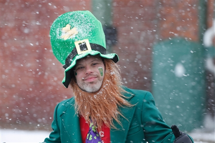 Flakes fly during 2019 Shamrock Run
