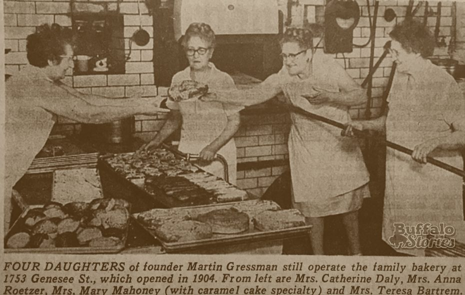 Mrs. Catherine Daly, Mrs. Anna Roetzer, Mrs. Mary Mahoney and Mrs. Teresa Bartrem – all daughters of Martin Gressmann –working to prepare the family bakery's famous specialty caramel cake.