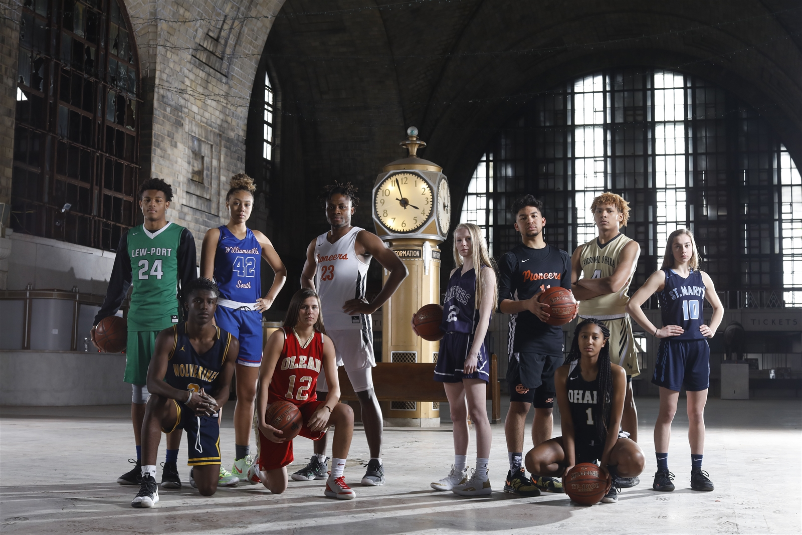 The members of the 2019 All-Western New York basketball teams, featuring first-team photographs taken by Derek Gee at Buffalo Central Terminal. The annual All-Western New York issue will be published Saturday.