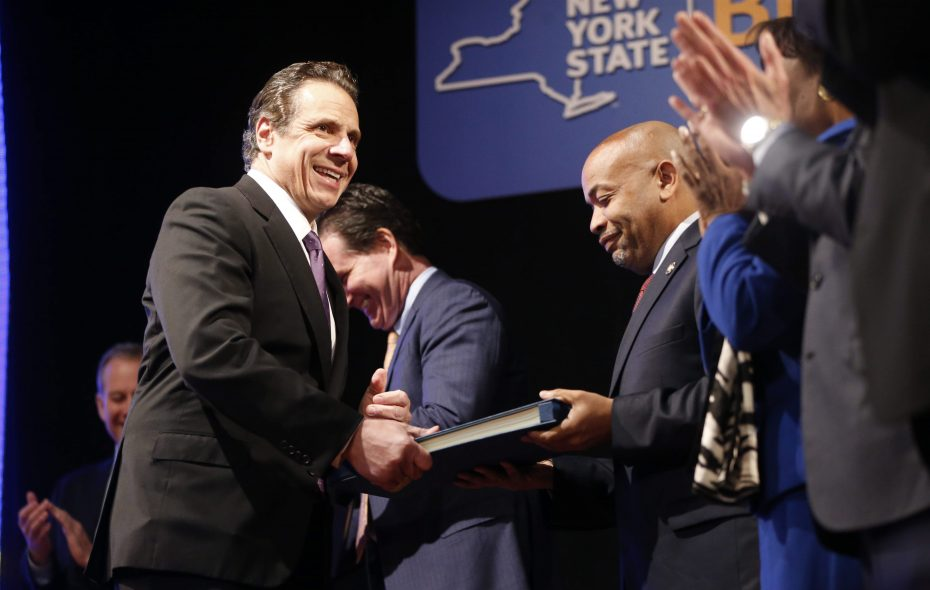 Gov. Andrew Cuomo called for public funding of elections in his budget but Assembly Speaker Carl Heastie, center, says his Democrats didn't have the votes to pass such a plan. (Derek Gee/News file photo)