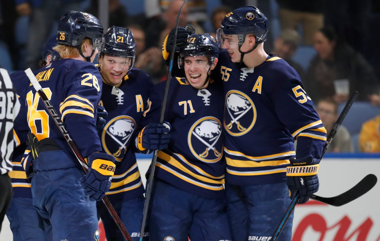 Sabres forward Kyle Okposo celebrates his goal with teammates against the Predators during the first period at KeyBank Center on Tuesday, April 2, 2019. (Harry Scull Jr./Buffalo News)