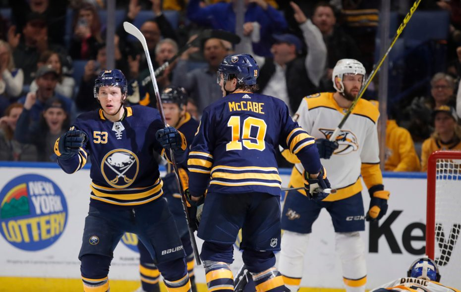 Buffalo Sabres forward Jeff Skinner celebrates his goal against the Nashville Predators during the second period at KeyBank Center on Tuesday, April 2, 2019. (Harry Scull Jr./Buffalo News)
