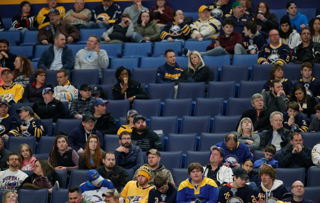Fans inside KeyBank Center watch the Buffalo Sabres play the Nashville Predators in March. (Harry Scull Jr./Buffalo News)