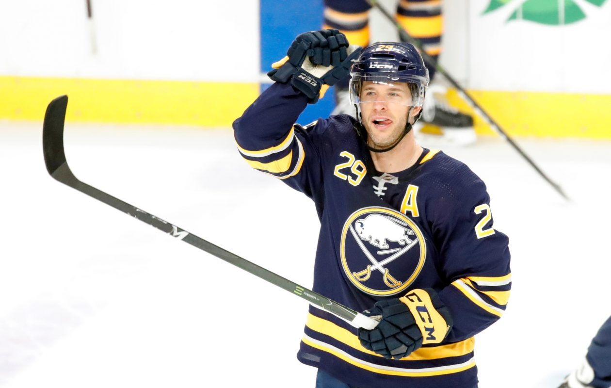 Buffalo Sabres forward Jason Pominville acknowledges the fans as they give him a standing ovation after his goal against the Ottawa Senators during the third period at the KeyBank Center on Thursday, April 4, 2019. (Harry Scull Jr./Buffalo News)