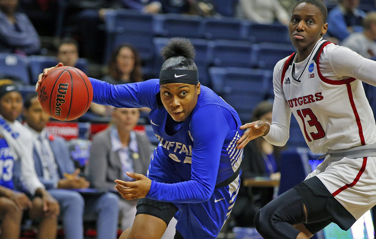 Buffalo guard Cierra Dillard drives to the basket against Rutgers at the NCAA Tournament on Friday, March 22, 2019. (Harry Scull Jr./Buffalo News)