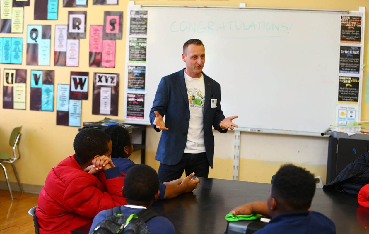 For Chief Information Officer Michael Wisler, M&T's 'dress for your day' policy meant wearing jeans when he went to a local school for a recent event. (John Hickey/Buffalo News)