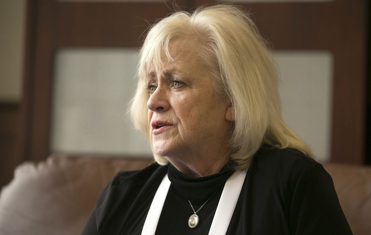 Sharon Simon, an advocate for homicide victims' families, talks about her career on March 29, 2019, her last day working for the Erie County District Attorney's Office. (John Hickey/Buffalo News)
