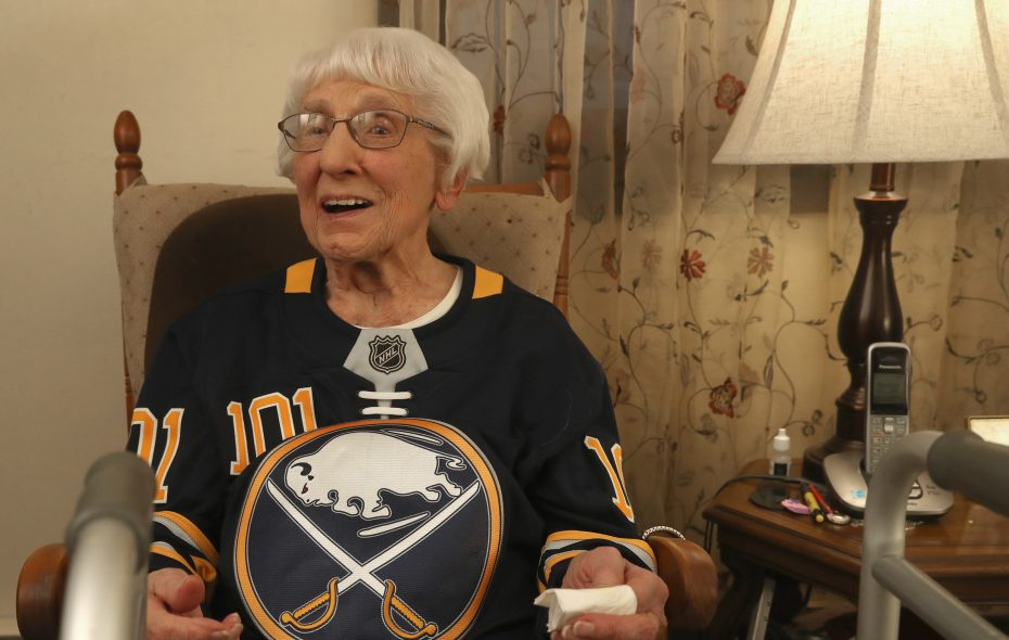 Frances Horn is 101 and a ferocious Sabres fan; she watched them play the Nashville Predators on TV at her home, in North Tonawanda, on Tuesday. (John Hickey/Buffalo News)