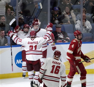 University of Massachusetts won in overtime on a goal by freshman Marc Del Gaizo early Friday, defeating Denver and advancing to its first national hockey final. The Frozen Four semifinal game was played at KeyBank Center.