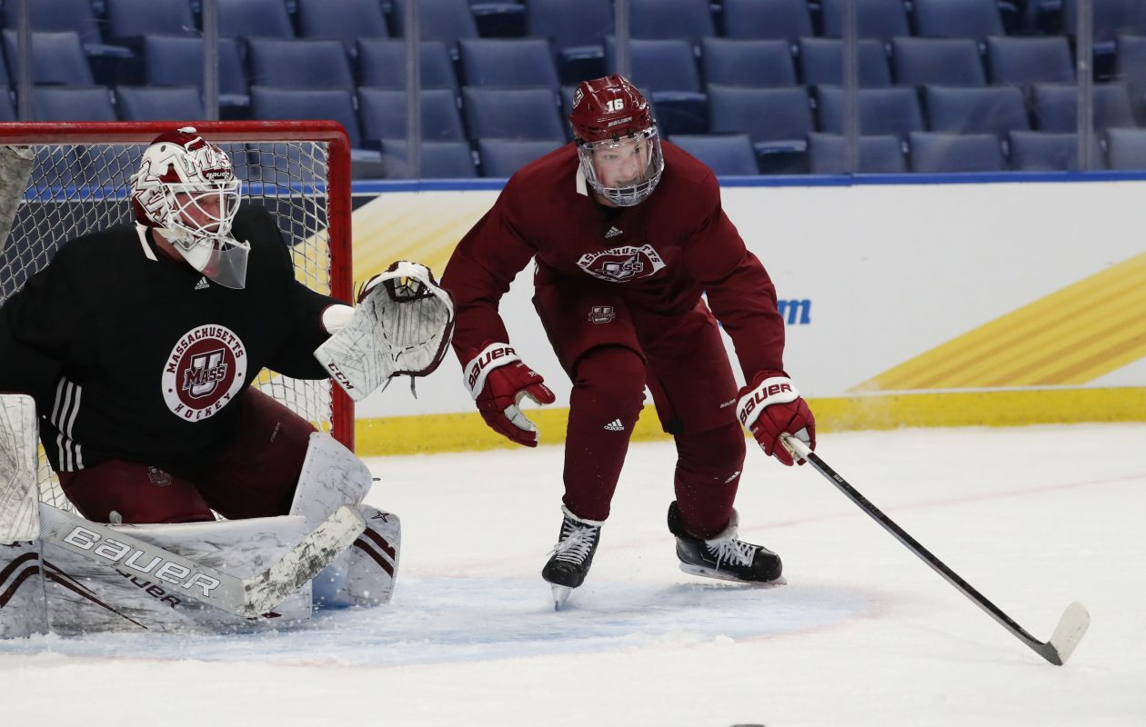 Cale Makar of the University of Massachusetts practices with his team at KeyBank Center in preparation for the NCAA Frozen Four. (Sharon Cantillon/Buffalo News)